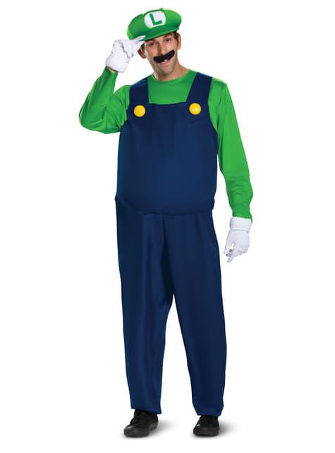 Disfraz de Luigi Prestige para hombre   Super Mario Bros