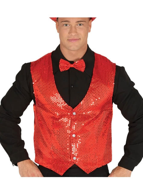 Chaleco de lentejuelas rojo elegante para hombre