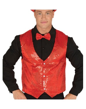 Fashionable red sequin waistcoat for men