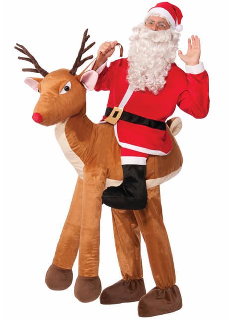Disfraz de Papá Noel de paseo navideño con Rudolph
