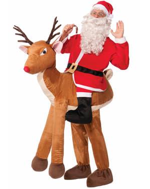 Disfraz a hombros de Papá Noel sobre reno Rudolf
