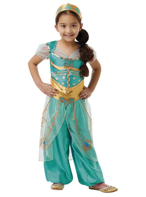 Jasmine kostuum voor meisjes in het blauw - Aladdin