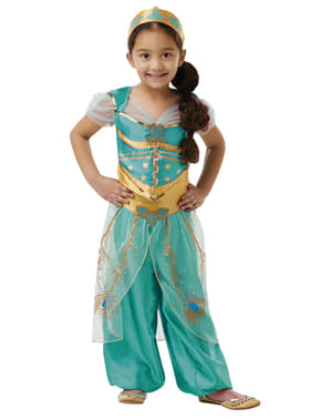 Jasmin Kostume til Piger i Blå - Aladdin