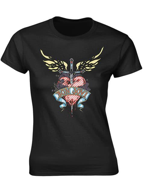 T-shirt de Bon Jovi Coração & Punhal para mulher