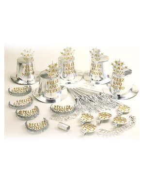 Feest Feliz Año Nuevo zilverkleurig voor 10 personen