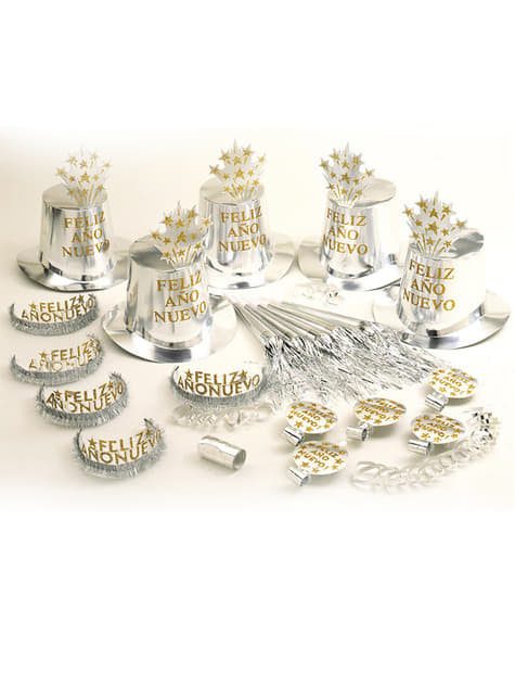 Silver Happy New Year Party Kit for 10 People