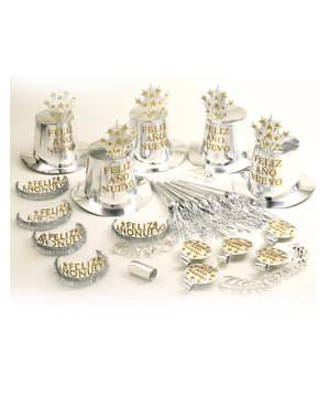 Kit petrecer Un An Nou Fericit argintiu pentru 10 persoane