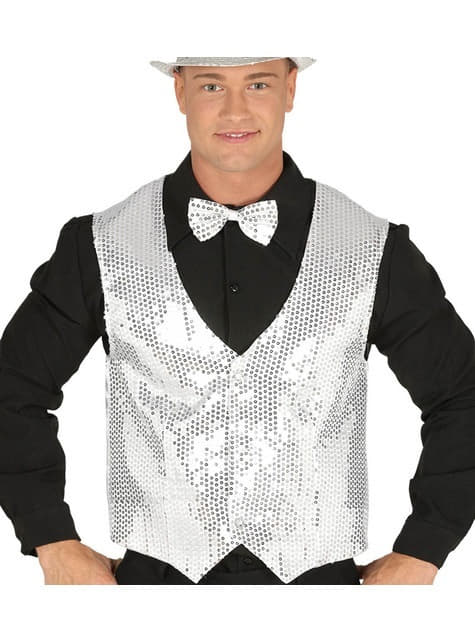Silver sequin waistcoat for men