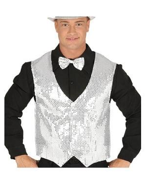 Pánská stříbrná vesta s flitry