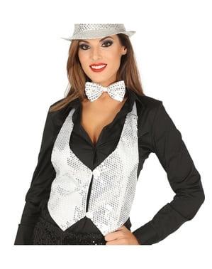 Silver sequin waistcoat for women