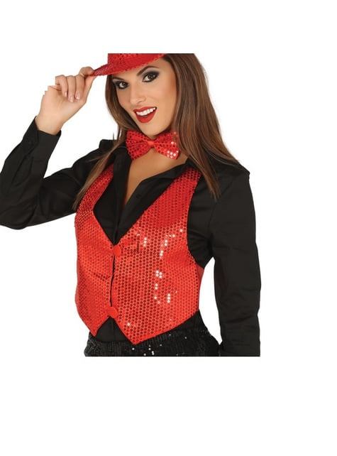 Red sequin waistcoat for women