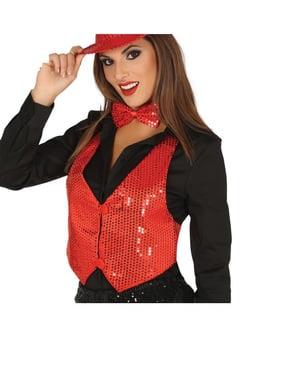 Colete de lantejoulas vermelho para mulher