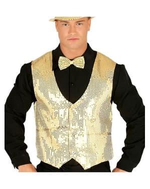 Gold sequin waistcoat for men