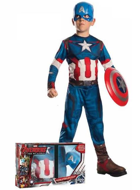 Disfraz de Capitán América La Era de Ultrón para niño con escudo