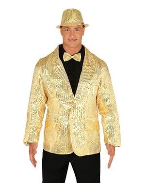 Gullfarget paljett jakke for menn