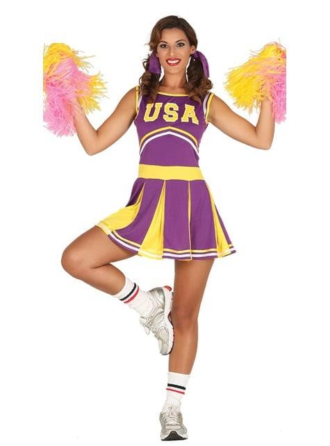 Kostium wesoła cheerleaderka fioletowo zółty damski