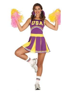 Costume da cheerleader allegra viola e giallo per donna
