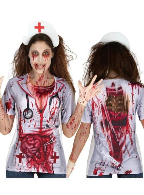 Camiseta de enfermera zombie para mujer