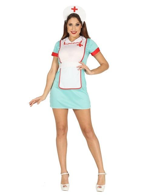 Тюркоазена костюма на медицинска сестра за жени