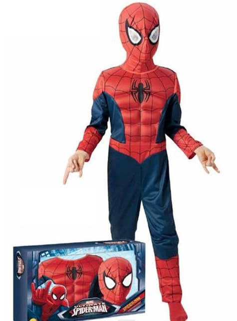 Fato de Ultimate Homem-Aranha para menino em caixa