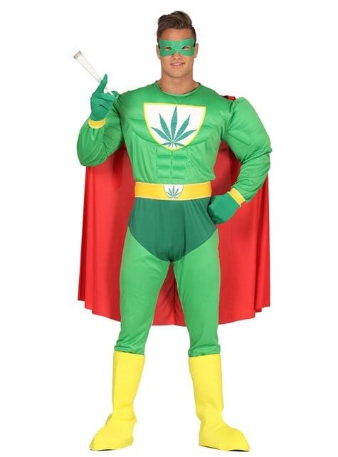 Disfraz de superhéroe marihuana para adulto