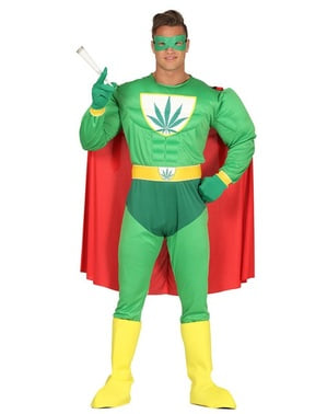 Fato de super-herói verde para adulto