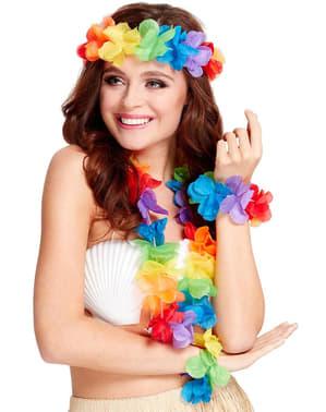 Kit da hawaiana arcobaleno per donna