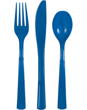 Dark blue plastic cutlery set - Basic Colours Line