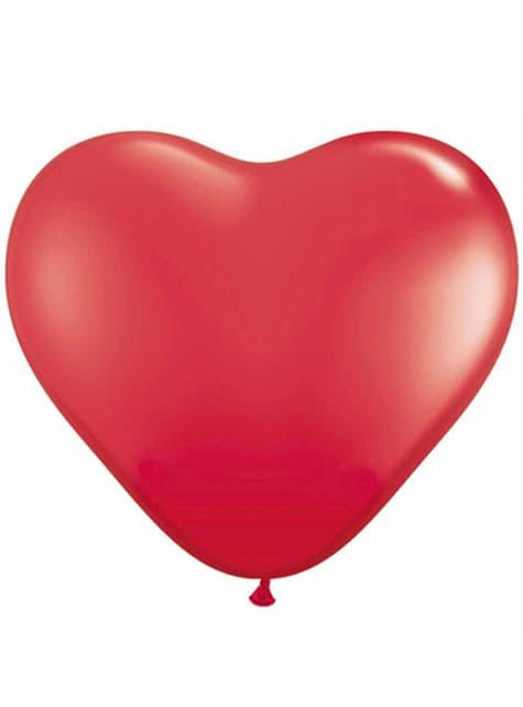 100 extra silných balonků ve tvaru srdce červených (40 cm)