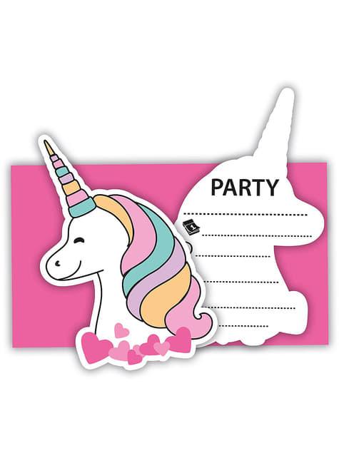 6 invitaciones de unicornio - Magic Party - para tus fiestas
