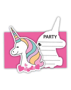 6 הזמנות חד קרן למסיבות - Magic Party