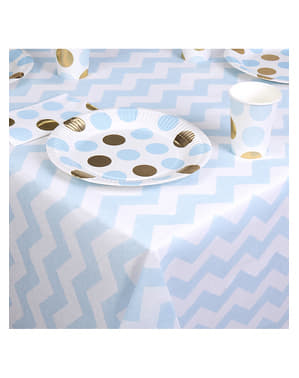 Blue and white paper tablecloth - Pattern Works