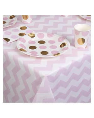 Розов и бял хартиен покрив за маса - образец работи