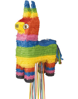 Multicolored 3D Donkey Piñata with Ribbons