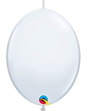 50 Link-O-Loon Balloons in White (30.4 cm) - Quick Link Solid Colour