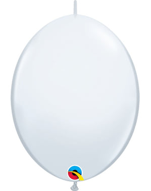50 Link-O-Loon Balloons in White (15.2 cm) - Quick Link Solid Colour