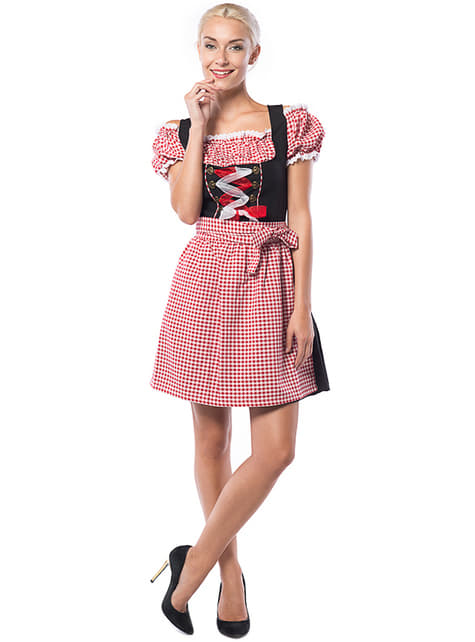 Plus Size Oktoberfest Checkered Dirndl for Women, Black & Red