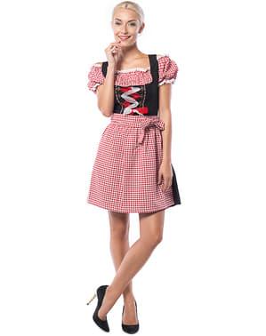 Dirndl Oktoberfest vermelho e preto com quadrados para mulher tamanho grande