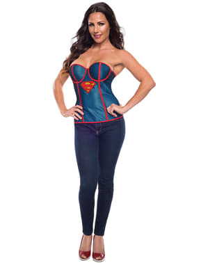Womens Supergirl fishnet corset