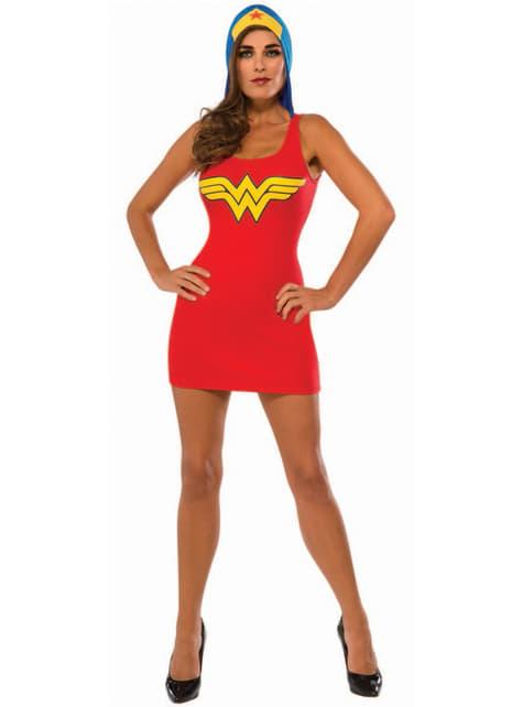 Womens Wonder Woman costume dress with hood