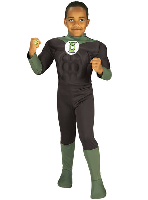 Childrens muscular Green Lantern DC Comics costume