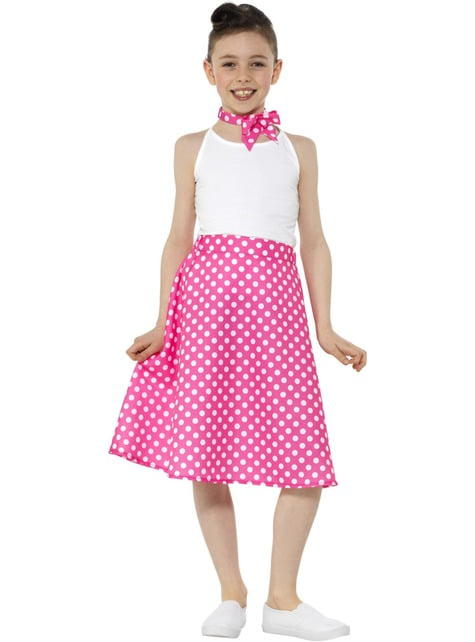 50s Polka Dot Costume for Girls in Pink