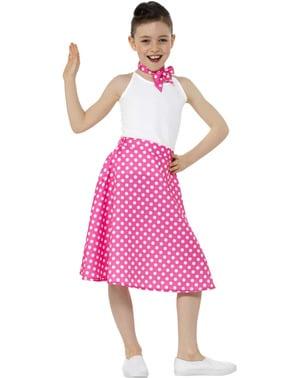 50s Polka Dot Costume for Girls in Pink