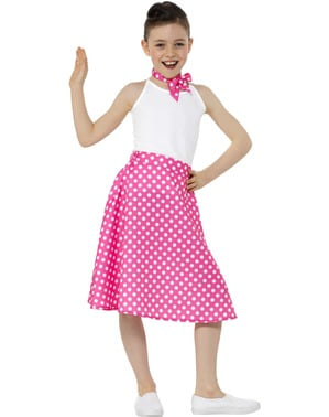Fustă roz anii 50 cu buline pentru fete