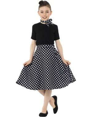 50er Jahre Rock schwarz mit Punkten für Mädchen