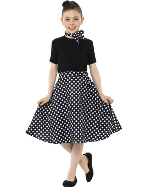50s Black Polka Dot Skirt for Girls