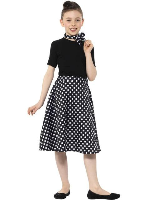 Disfraz de Años 50 negro con lunares para niña - niña