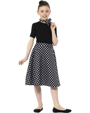Disfraz años 50 negra con lunares para niña