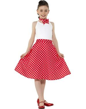 Jaren 50 rode polka dot rok voor meisjes