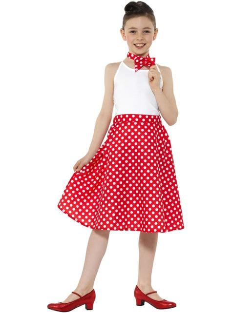 Fato de Anos 50 vermelho com pintas para menina - menina y rapariga